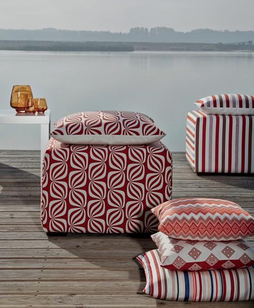 Polsterstoff Möbelstoff Berlin - Polyacryl - Teflon rot gestreift